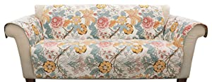 Lush Decor Sydney Furniture Protector-Floral Leaf Garden Pattern Sofa Cover-Blue and Yellow