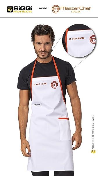 Masterchef Italia - Grembiule Ufficiale Unisex Bianco - RICAMATO CON NOME -  by Horeca Siggi  Amazon.it  Casa e cucina ab429b0cd039