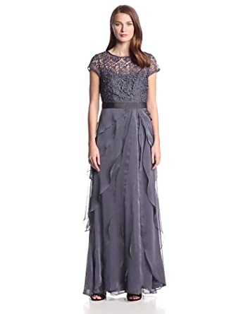Adrianna Papell Women's Gown with Lace Bodice and Flutter Drape Skirt, Charcoal, 8