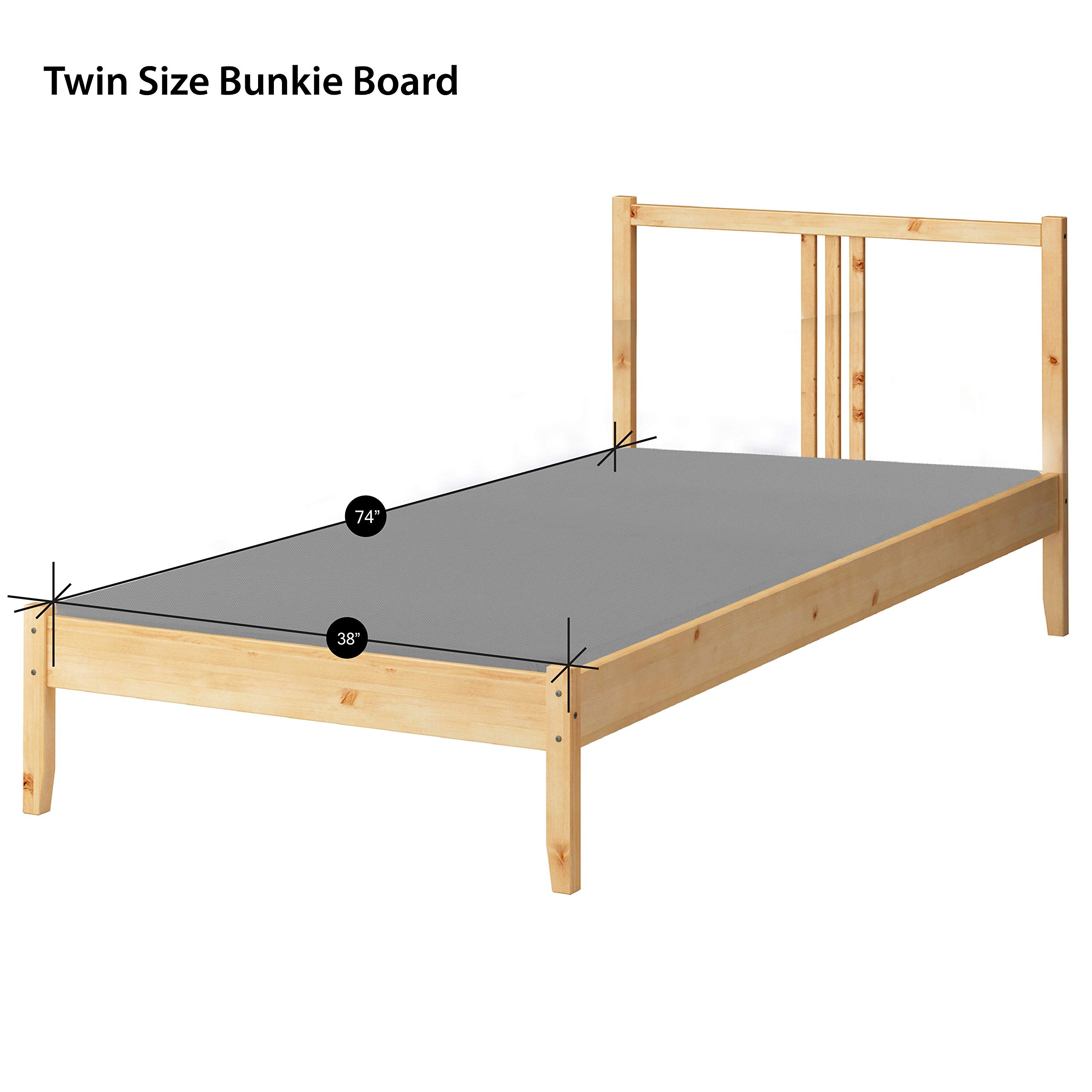 Greaton 1.5-Inch Solid Wood Bunkie Board Mattress/Bed Support, Fits Standard, Twin Size, 74x38x1.5, Grey