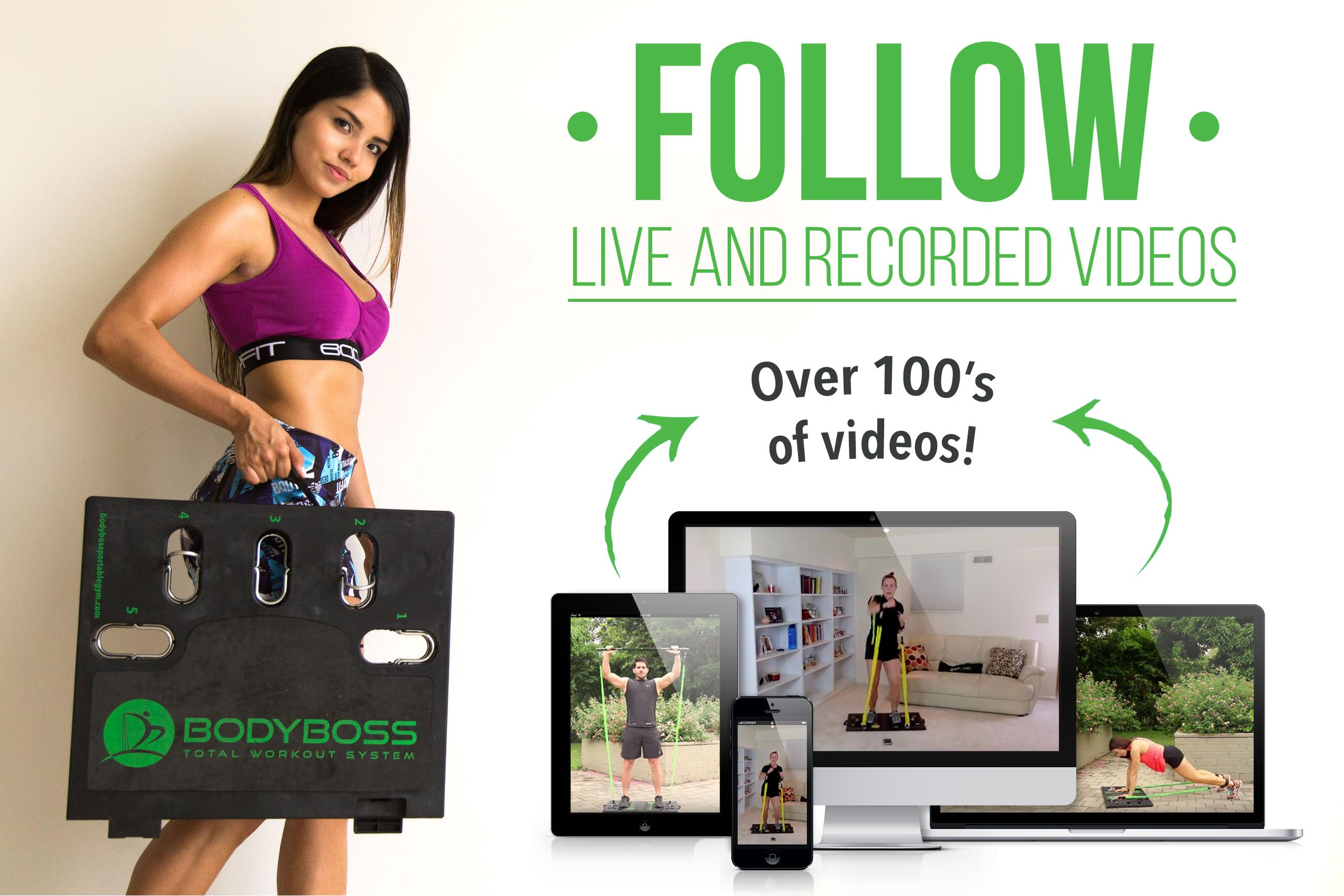 BodyBoss Home Gym 2.0 - Portable Gym Home Workout Package + Extra Set of Resistance Bands (4) - for Full Body Strength Training Workouts at Home or Anywhere You Take it (Green) by BodyBoss (Image #5)