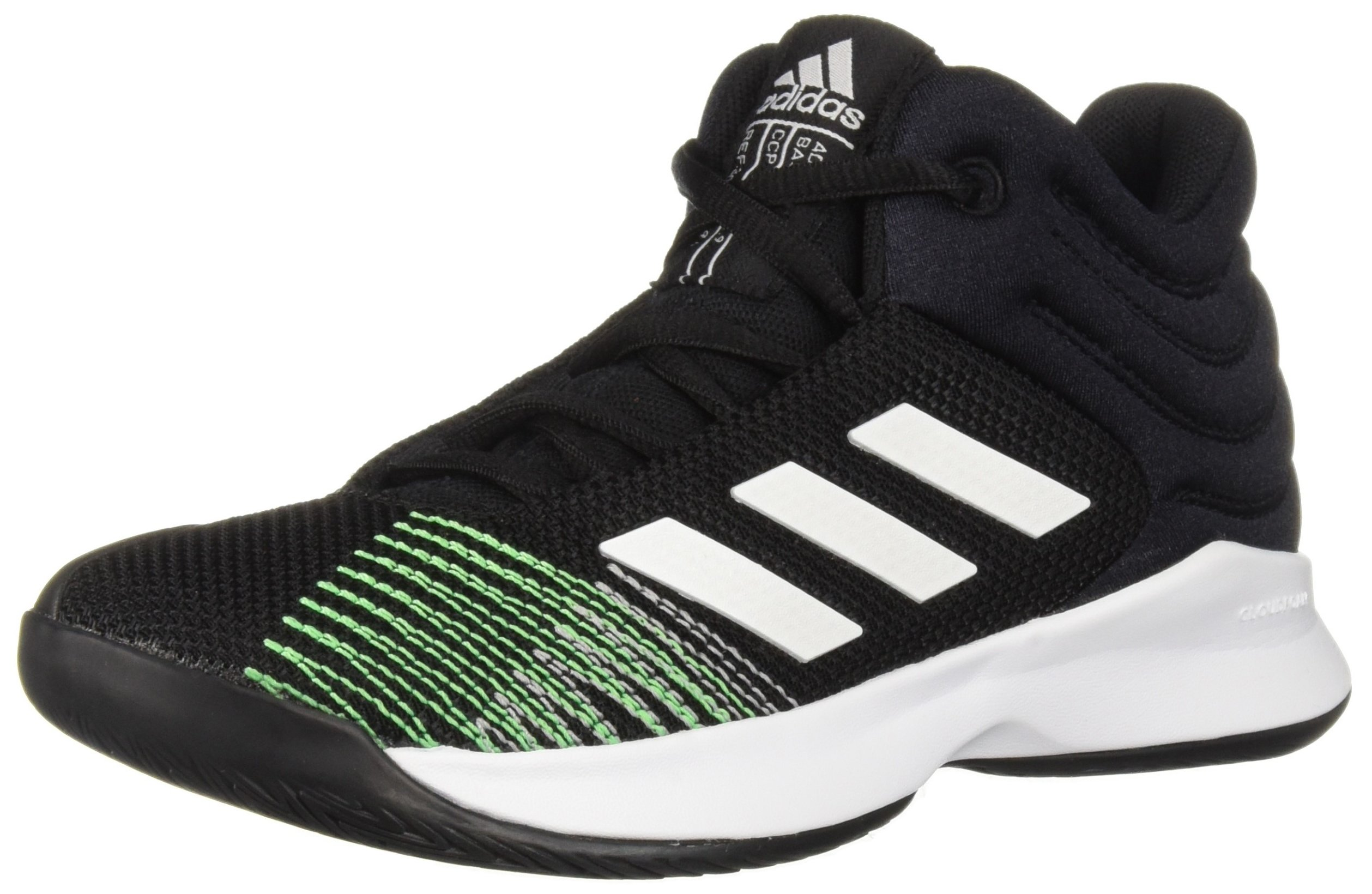 adidas Unisex Pro Spark 2018 Basketball Shoe, Black/White/Shock Lime, 2.5 M US Little Kid