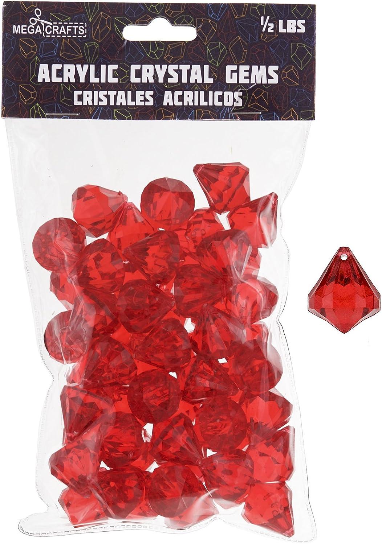 Mega Crafts 1//2 Pound Acrylic Decorative Large Diamonds Red