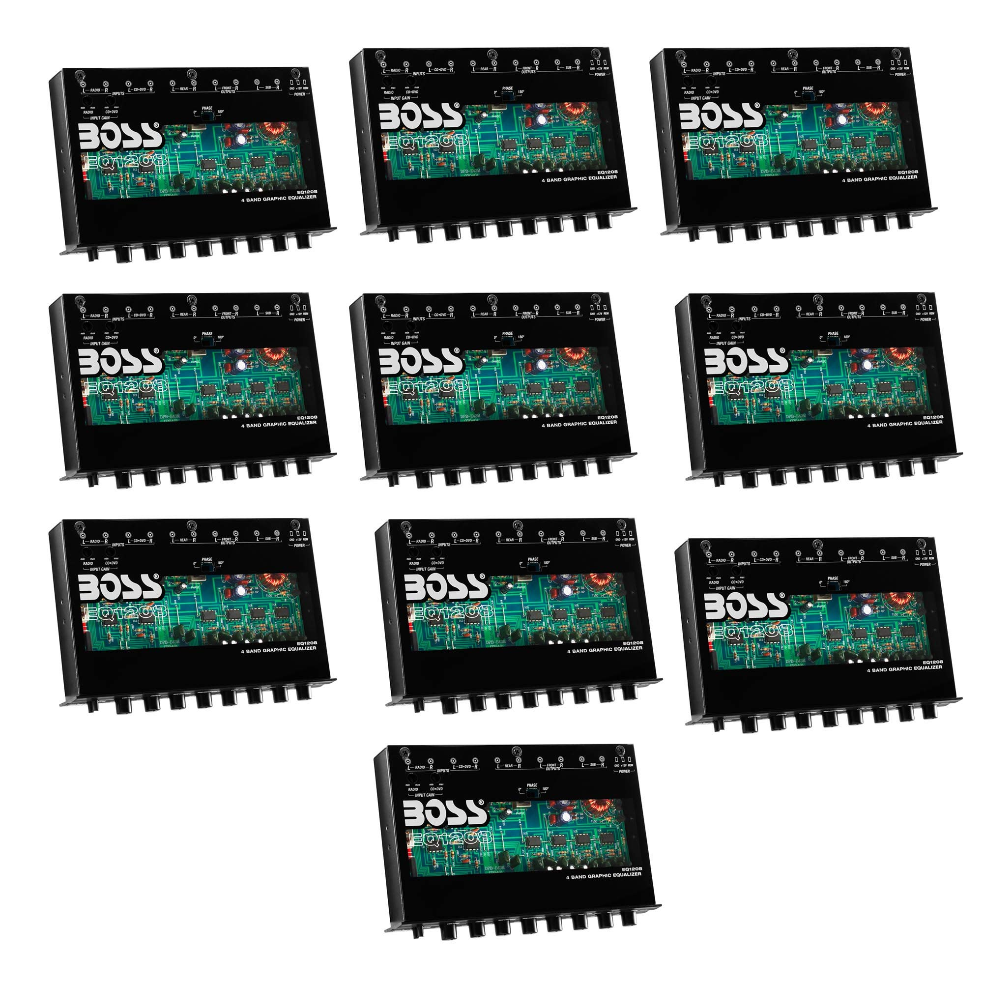 New BOSS EQ1208 4-Band Preamp Car Audio Equalizer w/Subwoofer Sub Output EQ Out (10 Pack)