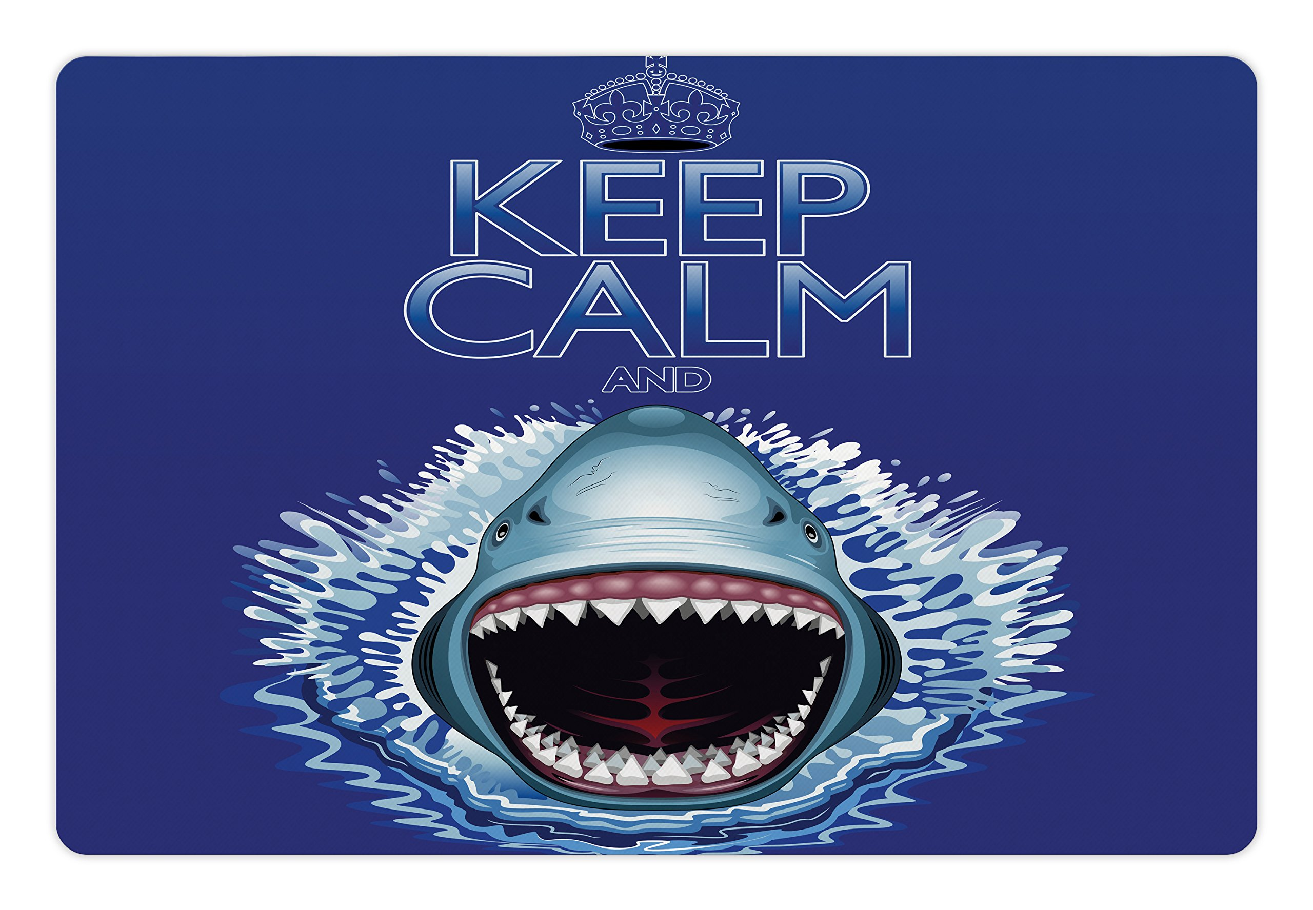 Ambesonne Sea Animals Pet Mat for Food and Water, Keep Calm and Shark Jaws Attack Predators Hunter Dangerous Wild Aquatic Nature, Rectangle Non-Slip Rubber Mat for Dogs and Cats, Blue White
