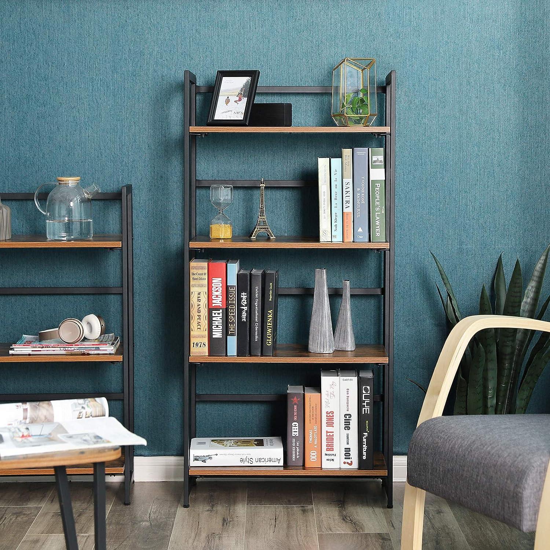 Amazon.com: SONGMICS Vintage Bookshelf, 4-Tier Portable Ladder Shelf ...