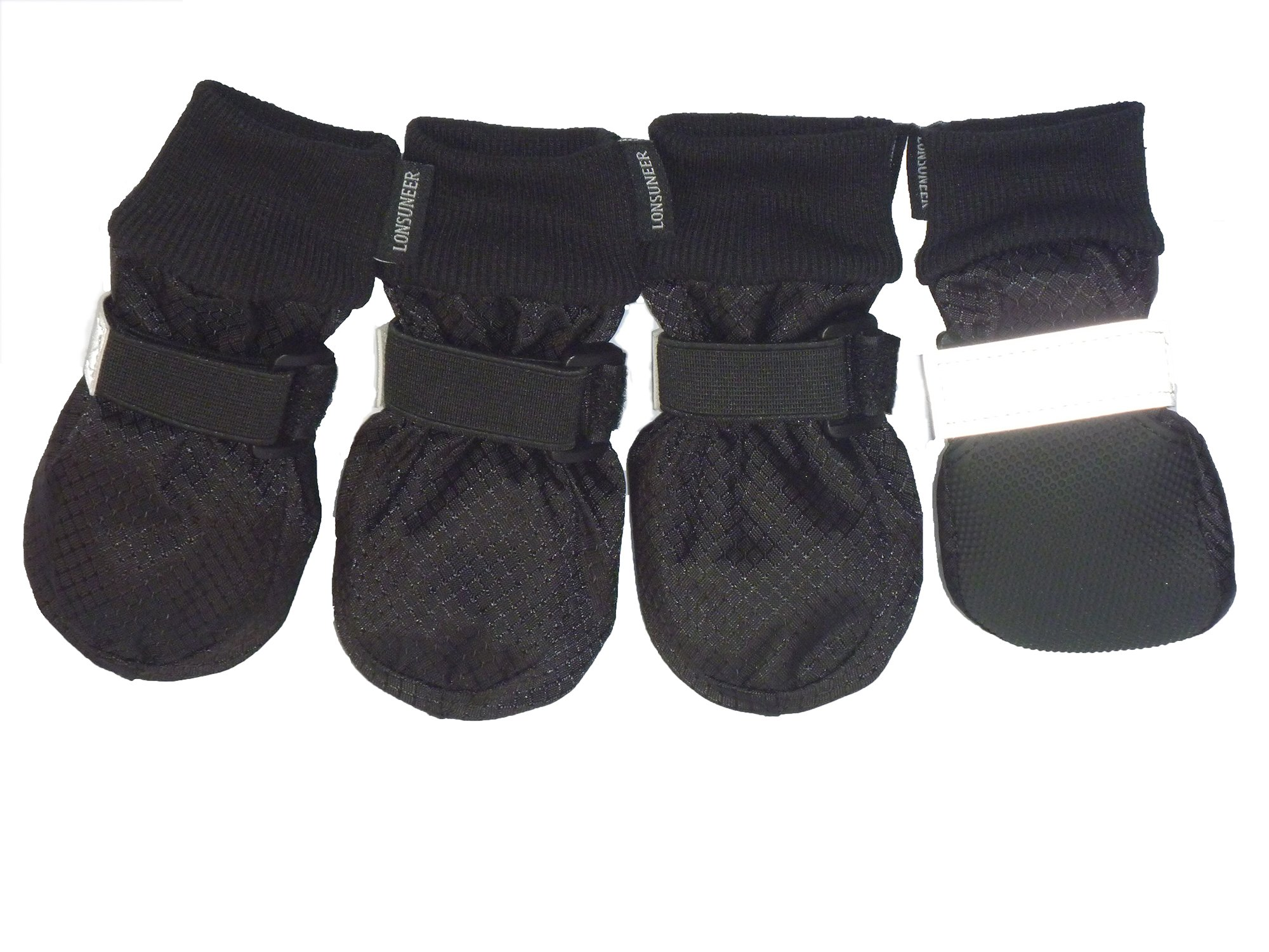 LONSUNEER Paw Protector Dog Boots Soft Sole Nonslip and Safe Reflective Set of 4 Color Black Size X-Small