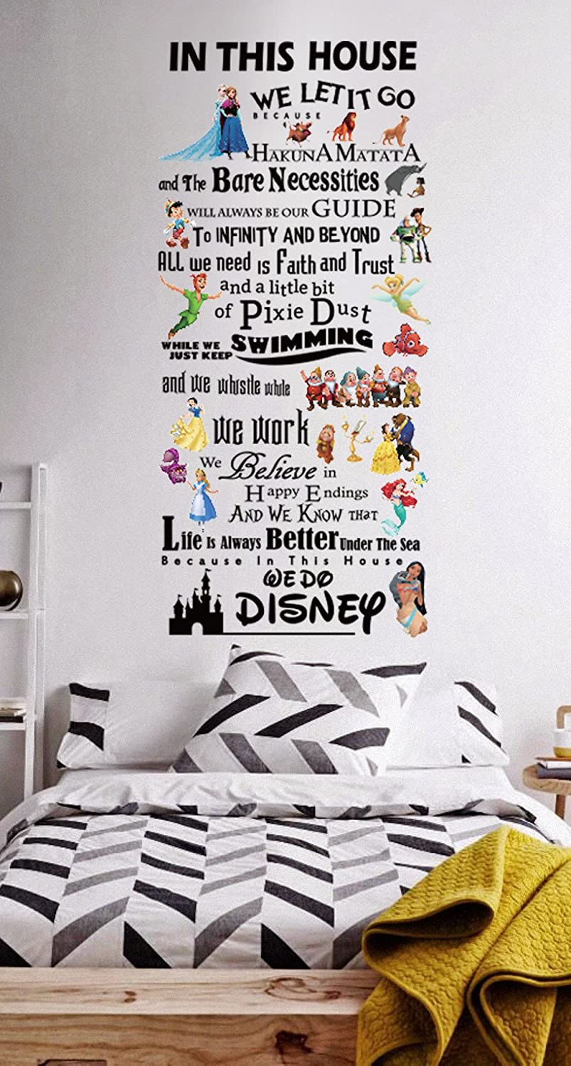 Disney Character In This House Wall Sticker Quotes Kids Nursery Words Decals amazing sticker