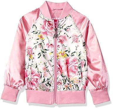 01207e721 Amazon.com  Pink Platinum Girls  Striped Floral Satin Bomber  Clothing