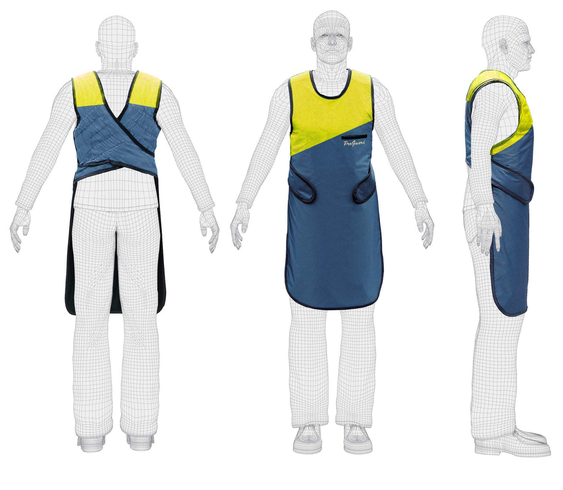 CE and FDA Approved X Ray Protection Lead Apron 0.35mm Lead Equivalent Yellow & Dark Blue