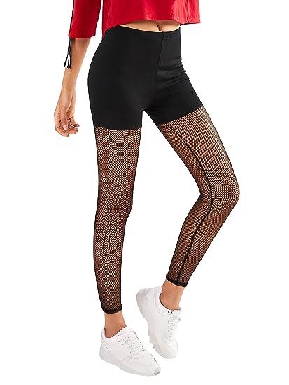 c9a5614763de5 SweatyRocks Women's Mesh Workout Leggings Stretch Yoga Pants Black S at  Amazon Women's Clothing store: