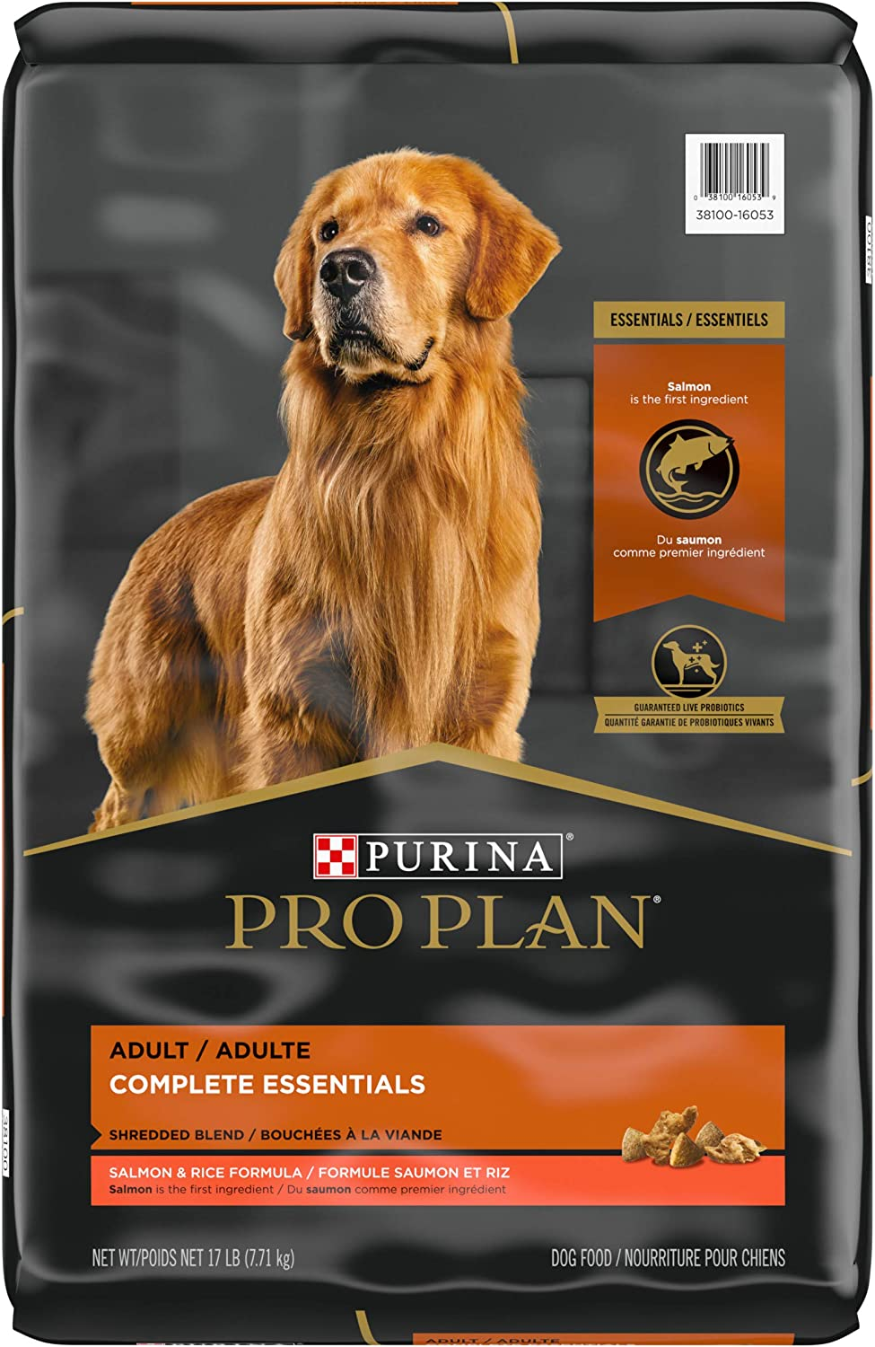 Purina Pro Plan With Probiotics, High Protein Dry Dog Food, Shredded Blend Salmon & Rice Formula - 17 lb. Bag