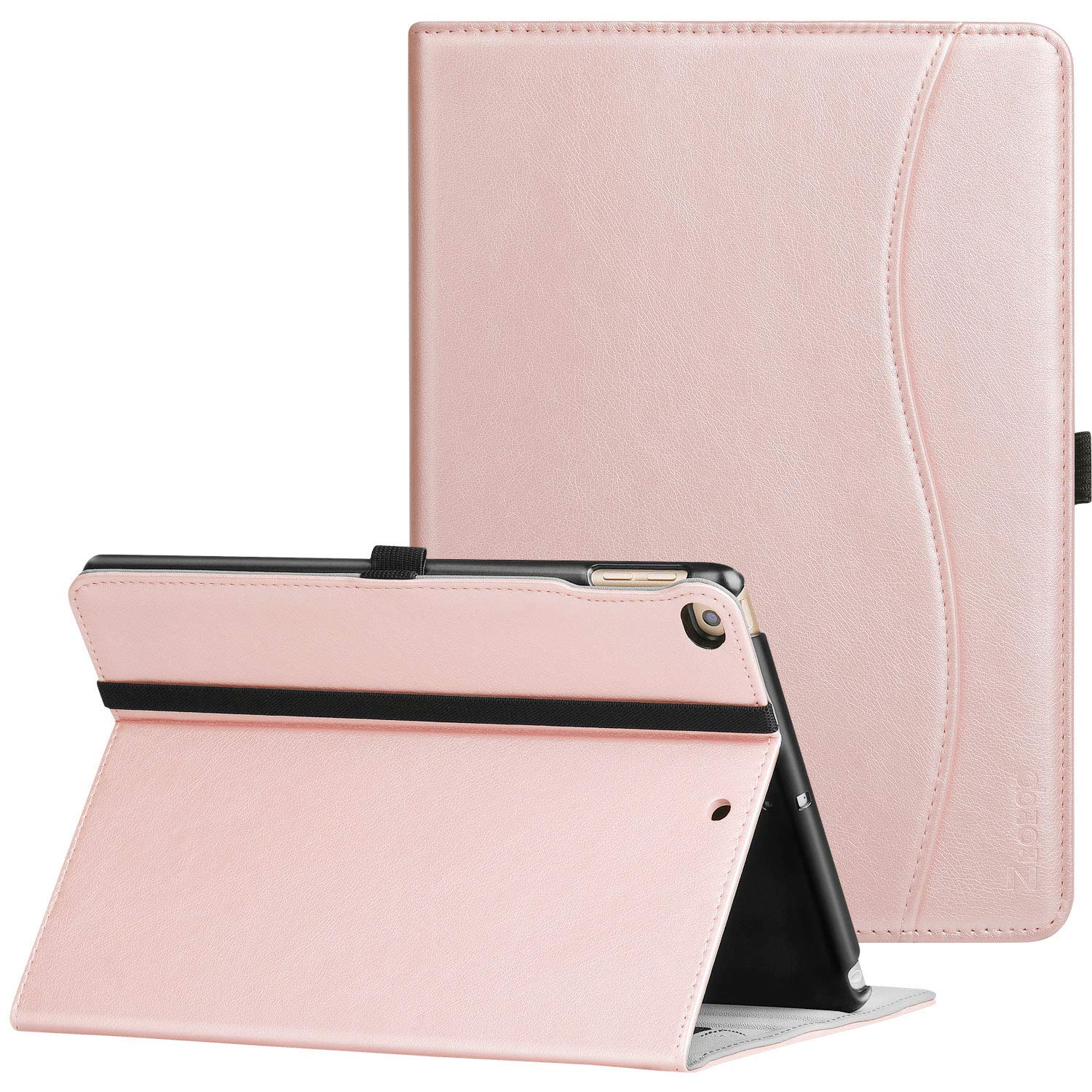 Ztotop Compatible with New IPad 9.7 Inch 2018/2017 Case,Premium Leather Business Slim Folding Stand Folio Cover with Auto Wake/Sleep,Pencil Holder and Multiple Viewing Angles,Rose Gold