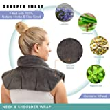 SHARPER IMAGE Hot & Cold Herbal Aromatherapy Neck & Shoulder Plush Wrap Pad for Soothing Muscle Pain and Tension Relief Therapy, 100% Natural Lavender & Herb Spa Blend, Use in Microwave or Freezer