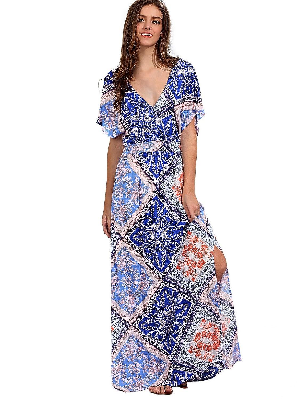 Milumia Women&39s Button Up Split Floral Print Flowy Party Maxi ...