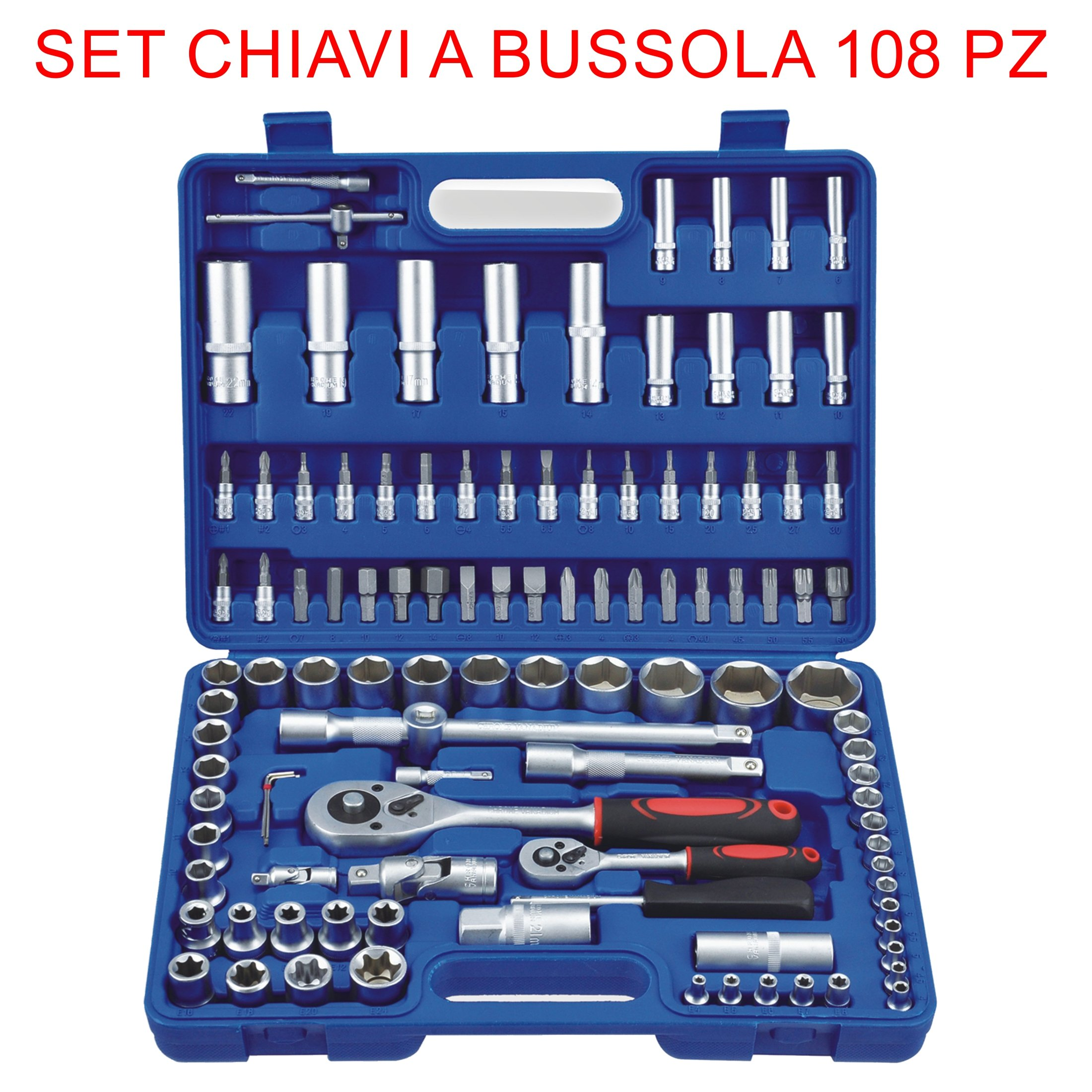 euronovità en-28907 Socket Ratchet Combination Spanners Set, 108 Pieces, Keys, with Inserts, Hand Tools for Work by euronovità