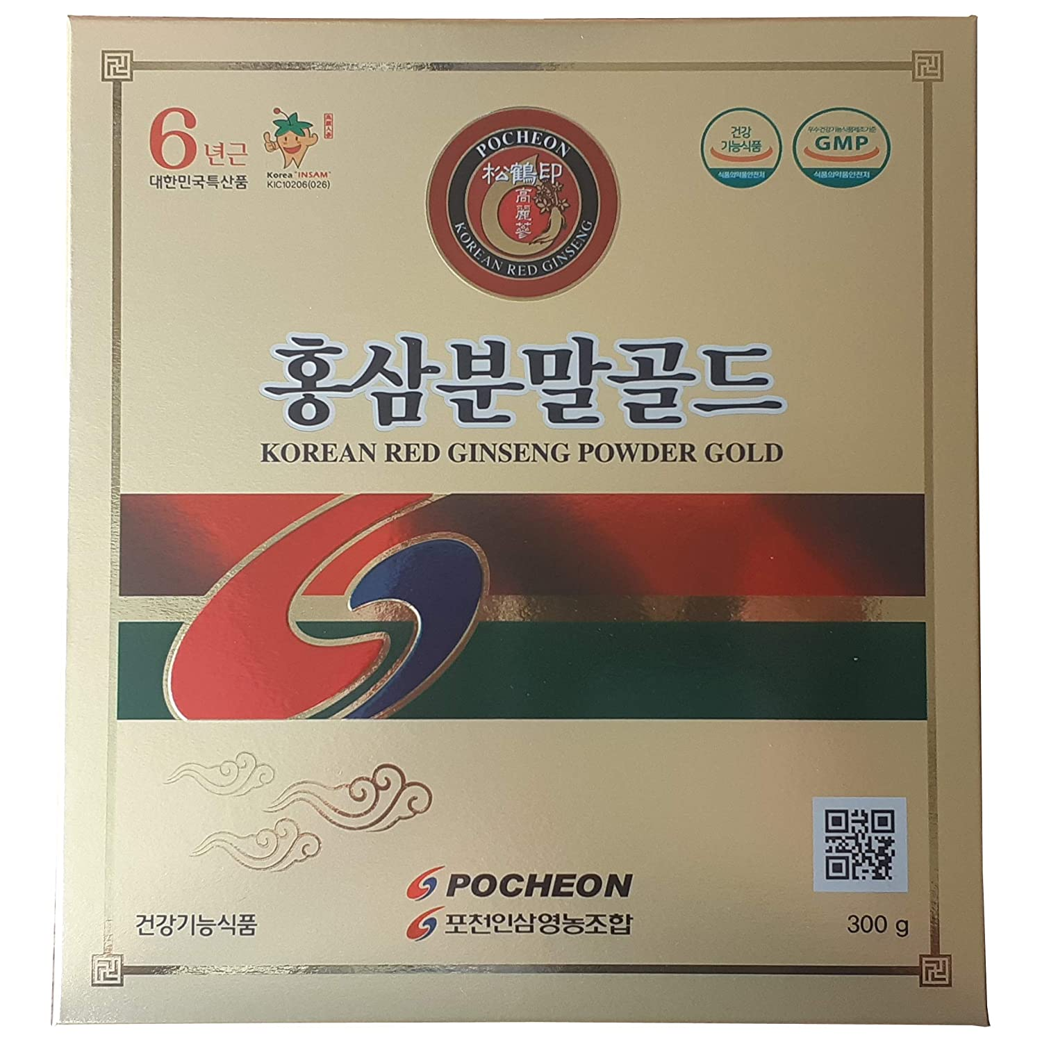 Pocheon 300g Korean Panax Red Ginseng Roots Powder Gold 6 Years, No Additives 100 Pure, High Ginsenoside