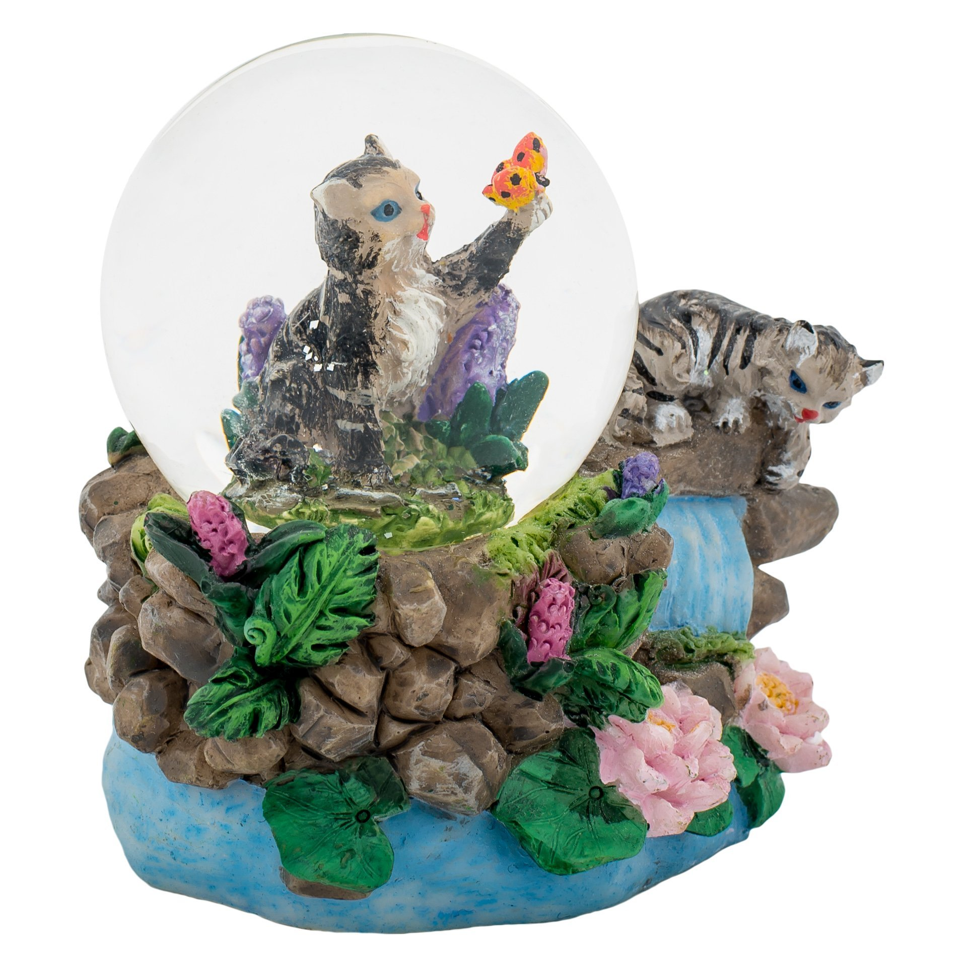 Tabby Kittens 3 x 3 Miniature Resin Stone 45MM Water Globe Table Top Figurine by Cadona International, Inc