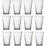 Duralex Prisme Highball Cocktail Glasses - 330ml Glass Tumblers - Clear - Pack of 12