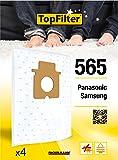 TopFilter 565, 4 sacs aspirateur pour Panasonic et Samsung boîte de sacs d'aspiration en non-tissé, 4 sacs à poussière (30 x 26 x 0,1 cm)