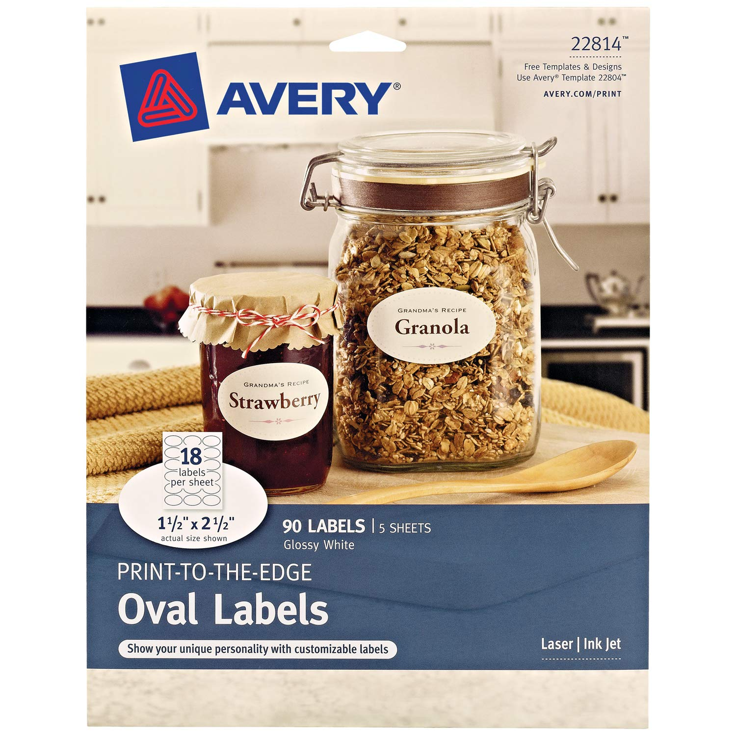 "Avery Oval Labels for Laser & Inkjet Printers, 1.5"" x 2.5"", 90 Glossy White Labels (22814)"