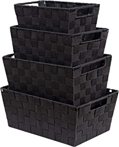 VK Living Woven Storage Box, Woven Strap Storage Basket Bin Container, Stackable Storage Basket, Woven Strap Shelf Organizer, Nylon Storage Basket for Closet, Office, 4 Pack, Black