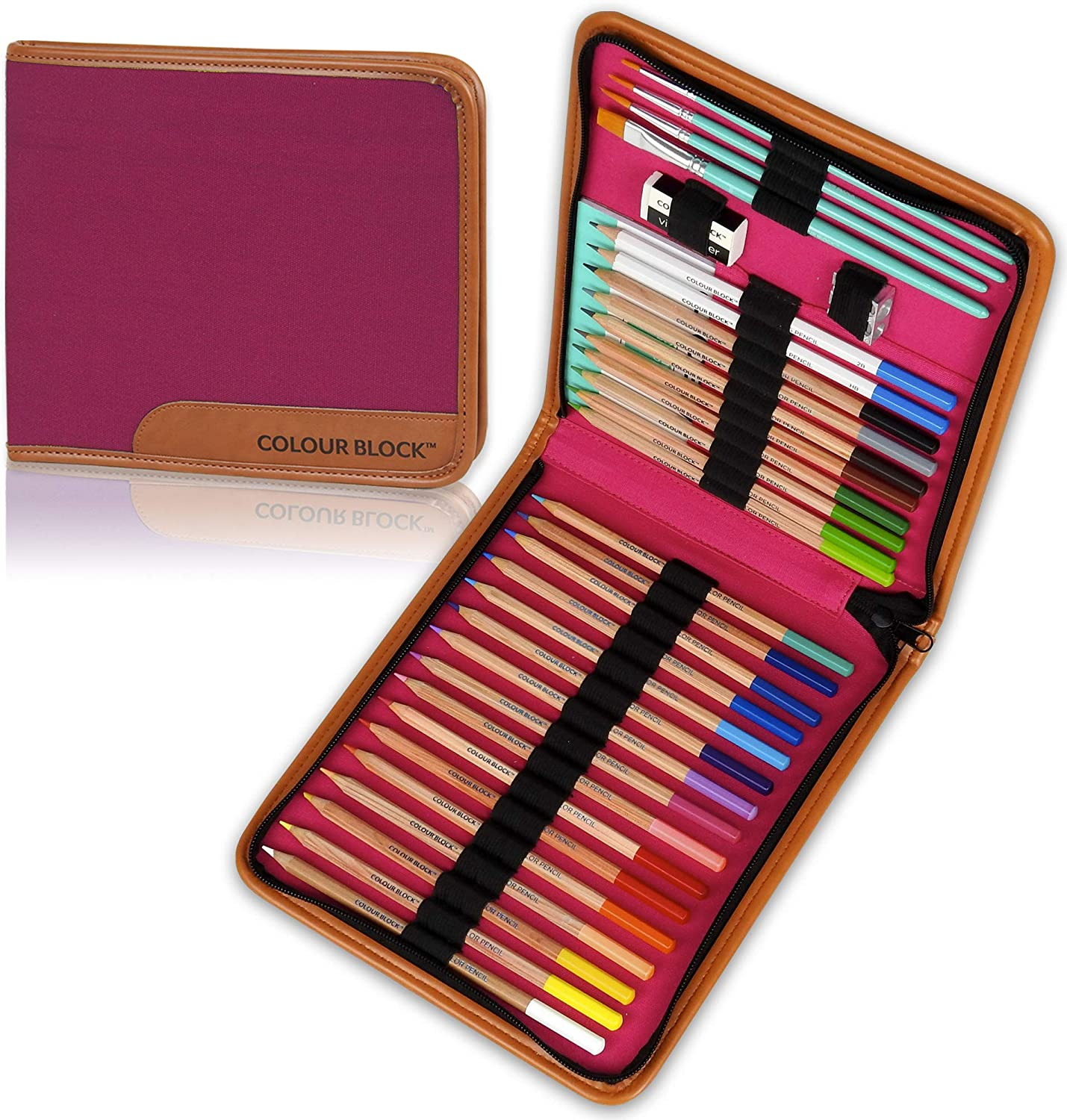 COLOUR BLOCK 34PC Watercolor Pencil Travel Art Set For Kids, Teens and Adults. For Drawing, Sketching, Coloring and Painting. Great starter kit for all beginners to professionals.: Office Products