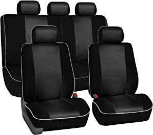 FH Group FB063115 Full Set Sports Fabric Car Seat Covers Solid Black, Airbag Compatible and Split Bench, Solid Black- Universal Car, Truck, SUV, or Van