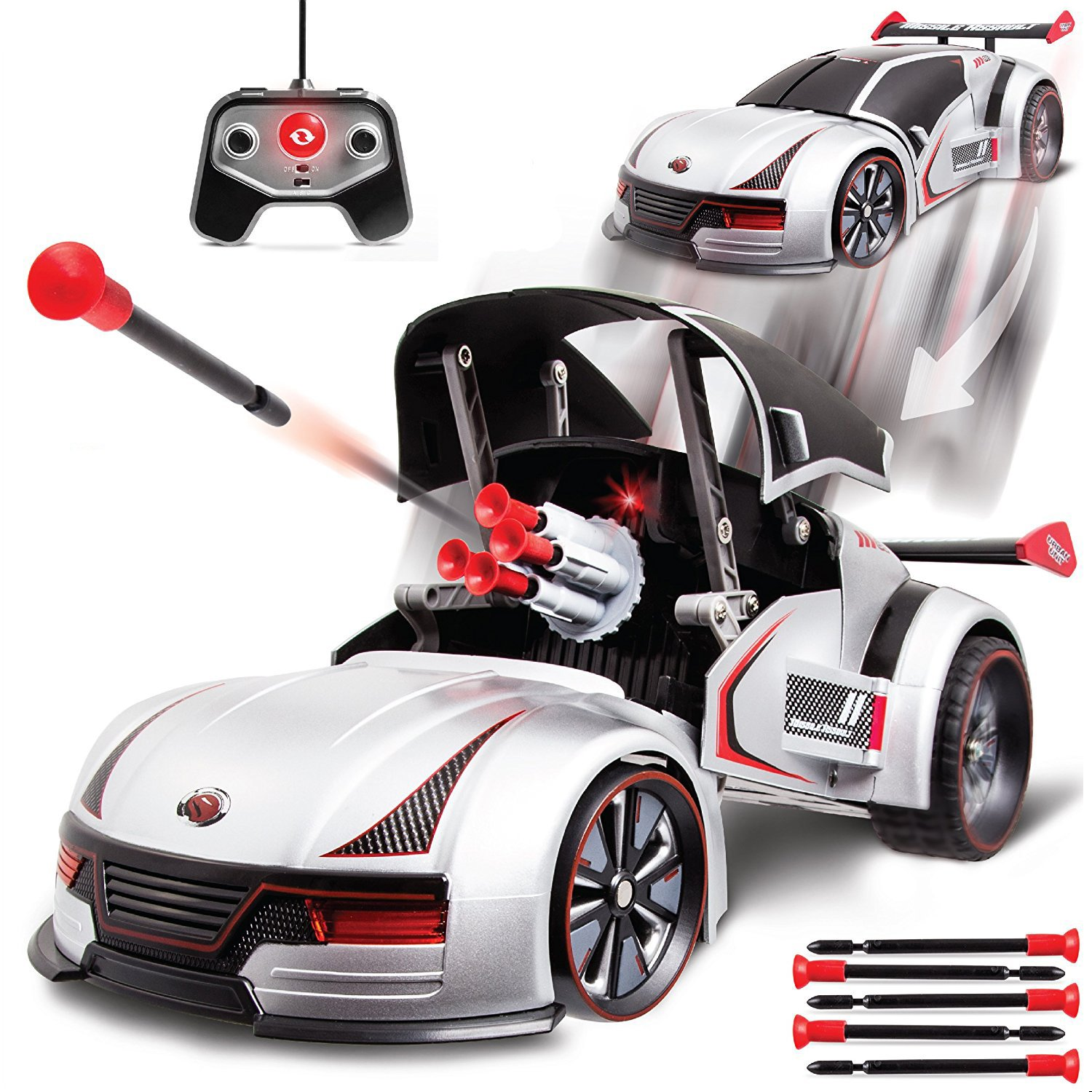 Sharper Image Transforming RC Missile Launcher Race Car Battle Toy with LED Target Light, Spoiler; Includes Ten Safe Suction Cup Firing Darts, Remote Control w/ Transformer Button