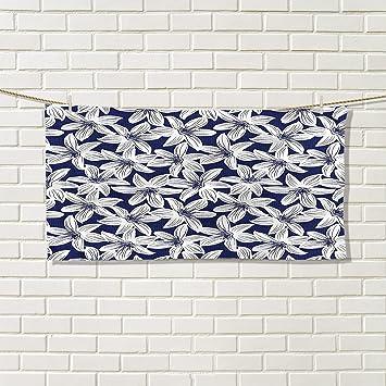 Toallas de mano de yoga azul marino con bordes horizontales con elementos náuticos, anclaje de cuerda marina y estilo casco, rojo, blanco, azul oscuro: ...