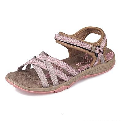 GRITION Frauen Wandern Sandalen, Damen Outdoor Sport Wasser Schuhe Sommer  Flach Cross-Tied Beach a3b07419c8