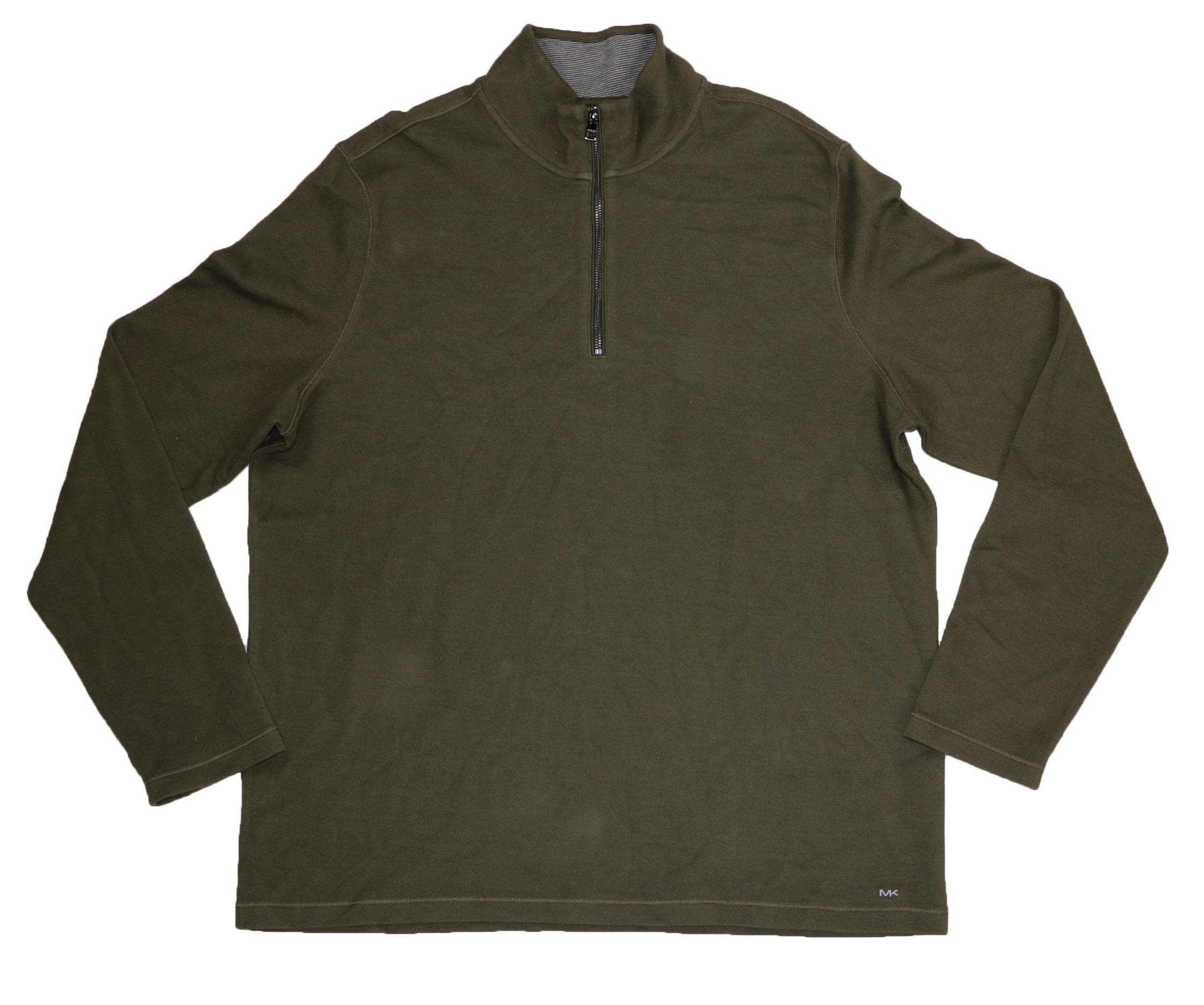 Michael Kors Pique Solid Color Mock Neck 1/4 Zip Pullover Sweater (Olive, XX-Large) by Michael Kors