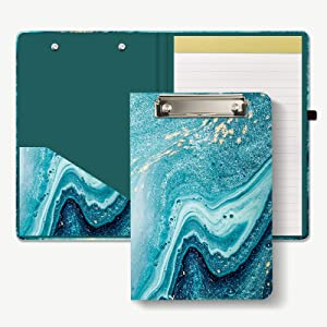 Hongri Mini Clipboard Folio with Refillable Lined Notepad and Interior Storage Pocket for Students, Classroom, Office, Women, Man, Cute Custom Pattern, Standard A5 Size 6
