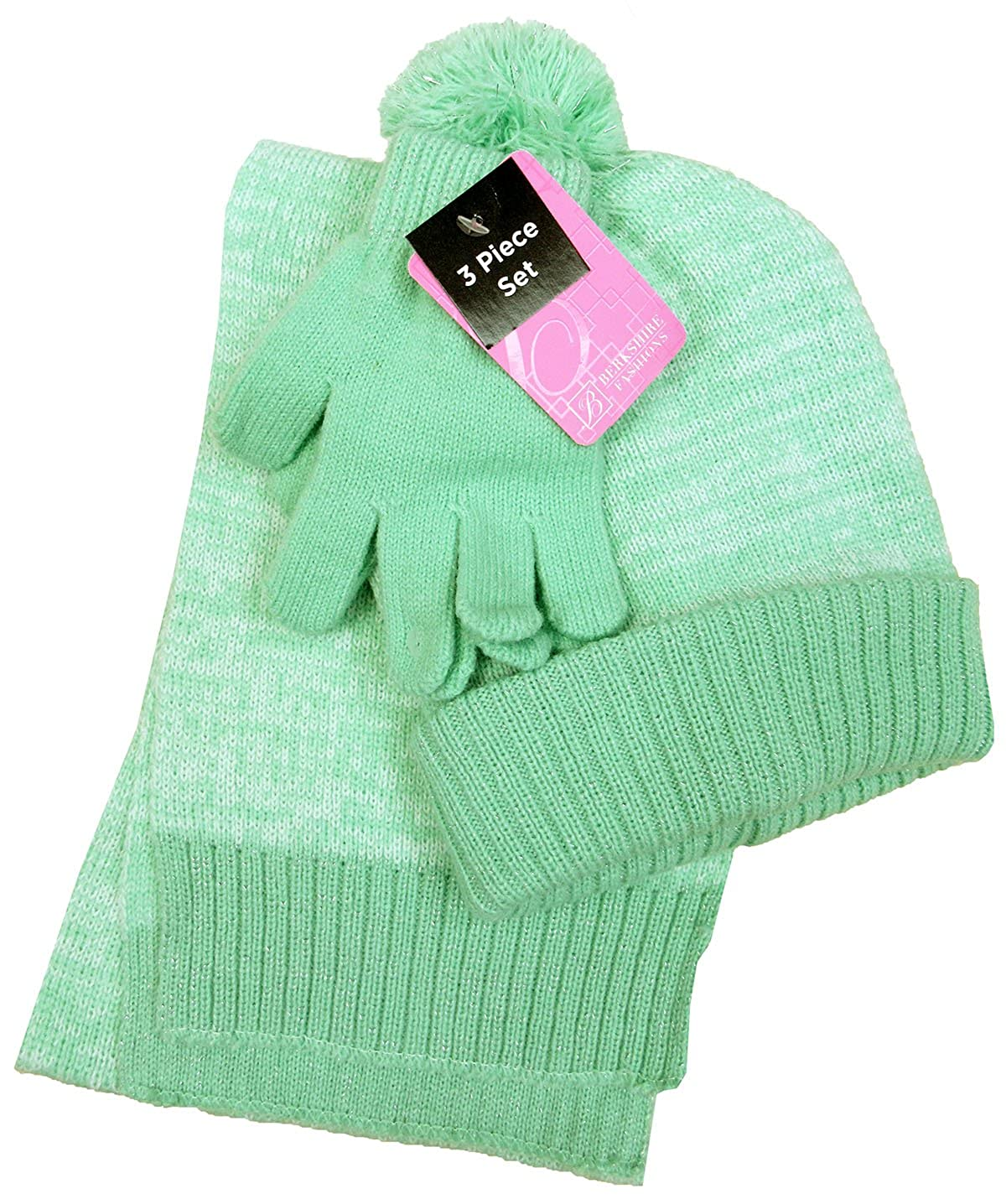 Knitted Hat Scarf /& Gloves Set Green One Size Berkshire Girls 3-Pc