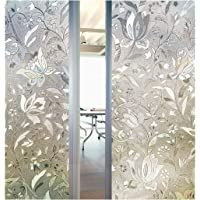 3D Decorative Tulip Flower Pattern Frosted Privacy Window Film Self adhesive Static Sticker for Bathroom Kitchen Living room