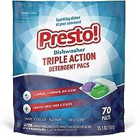 Amazon Brand - Presto! Triple Action Dishwasher Pacs, 70 Count