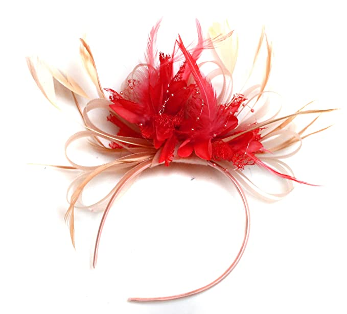 7a75fb12 Nude Salmon and Red Feather Hair Fascinator Headband Wedding Royal ...