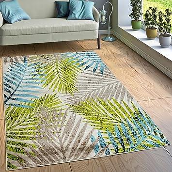 Paco Home Designer Teppich Wohnzimmer Urban Jungle Palmen Design Braun  Beige Grün Blau, Grösse: