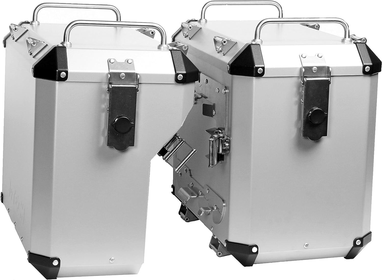Mytech- 47 Kit de maleta de plata de 41 litros montado directamente en los marcos estándar originales para - R 1200 GS adventure LC (2014) - R 1250 GS adventure LC (2019)