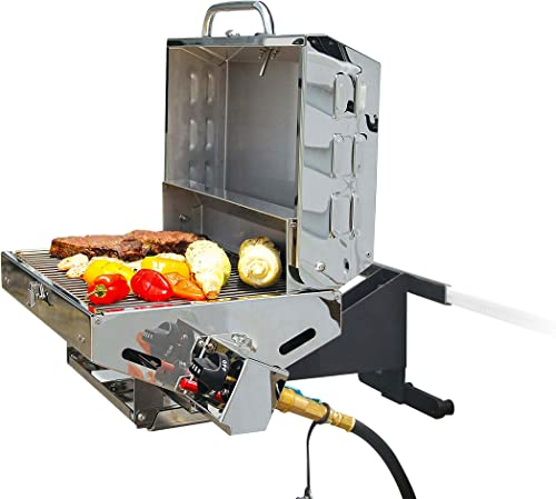 Portable Gas Bbq/Grill with Folding Tabletop Legs for Pontoon Boat [Camco] detail review