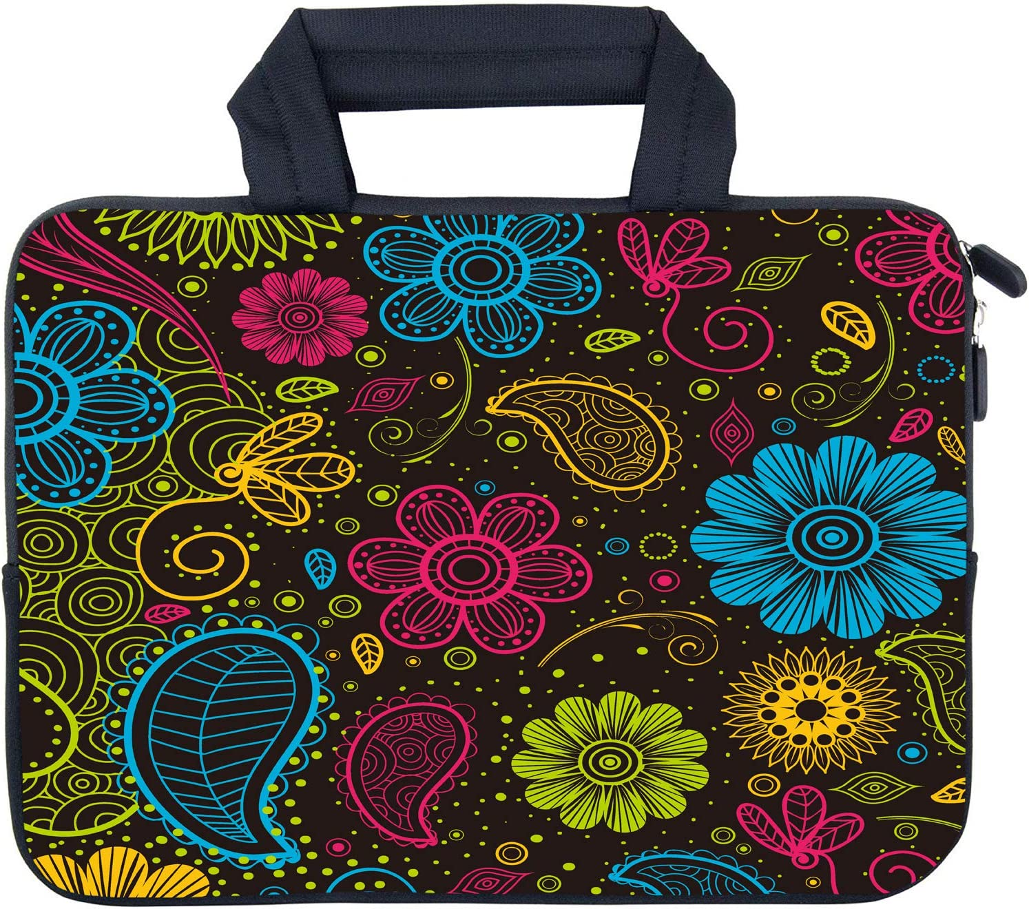 "AMARY 11.6"" 12"" 12.1"" 12.5 inch Laptop Case Chromebook Bags Neoprene Notebook Carrying Pouch Chromebook Sleeve Ultrabook Case Tablet Cover Fit Apple MacBook Air HP DELL Lenovo Asus Samsung (Paisley)"