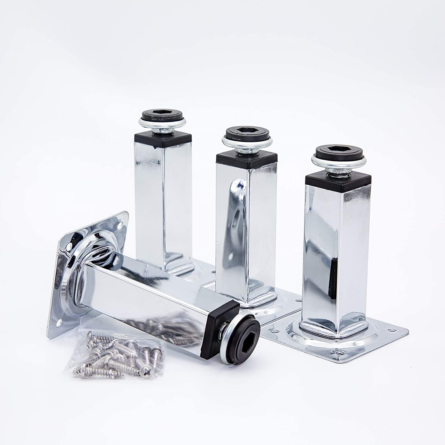 HUAYY Shiny Metal Adjustable Legs   Furniture,cabinets,Table levelers feet   Leveling Foot and Screw mounting Package (Chrome Plated)