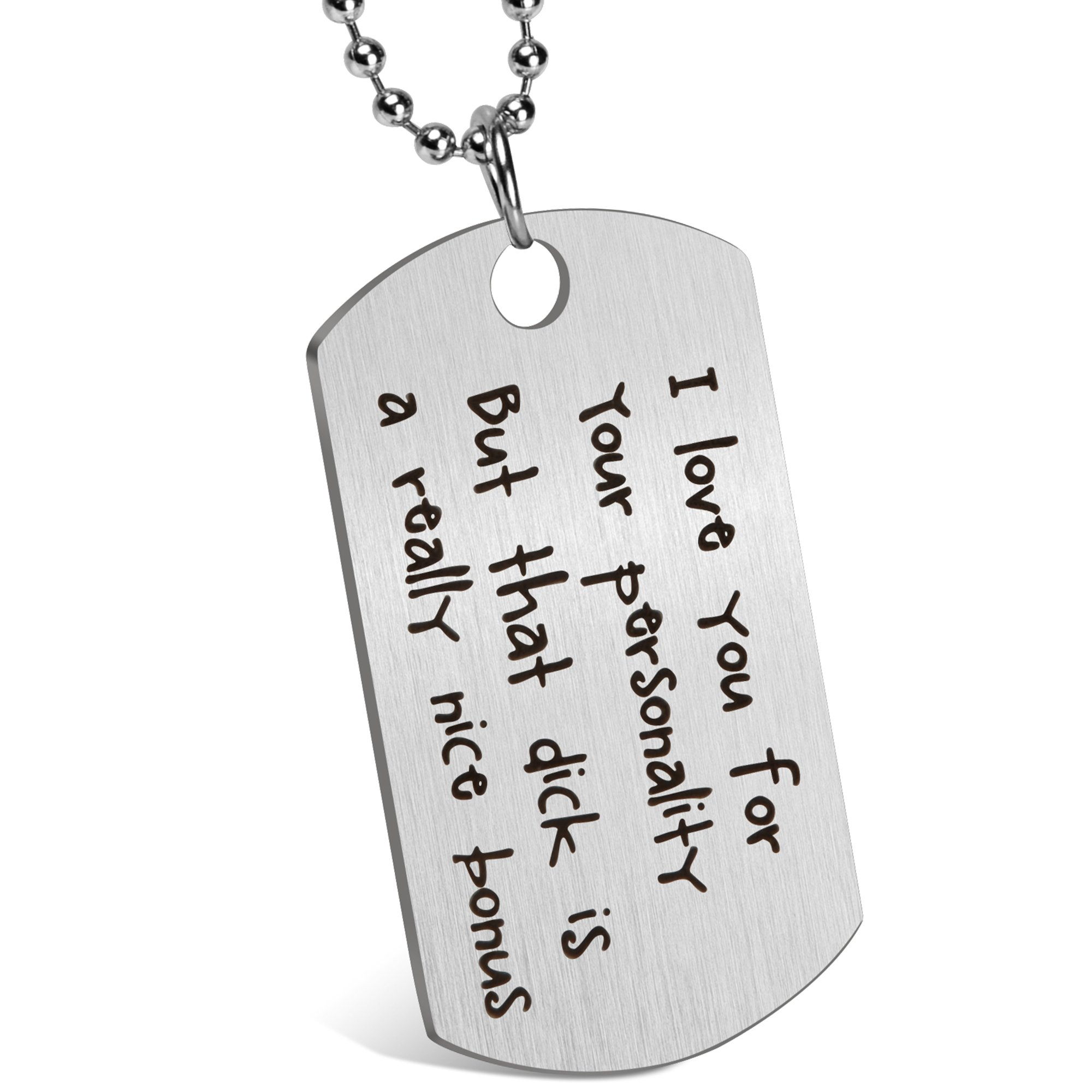 Gift for Boyfriend Husband Personalized Dating Whisper Dog Tag Necklace Pendant Naughty Words Jewelry Couples Keychain Gift for Valentine's Day Anniversary (♥I'm serious)