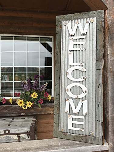WELCOME SIGN Vertical For Home *Rustic Metal Tin Welcome On Distressed Wood  *Antique Red