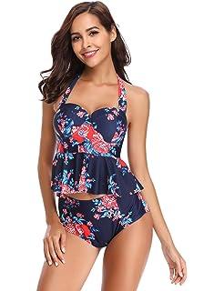 beedbf72f01 LALAVAVA Womens High Waisted Peplum Bikini Set Halter Floral Print Push up  Swimsuits