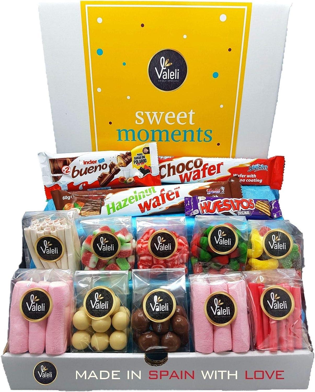 Valeli, Chocolates y Golosinas Cesta dulces y chocolatinas, Caja Regalo Original: Cumpleaños - 1 kg