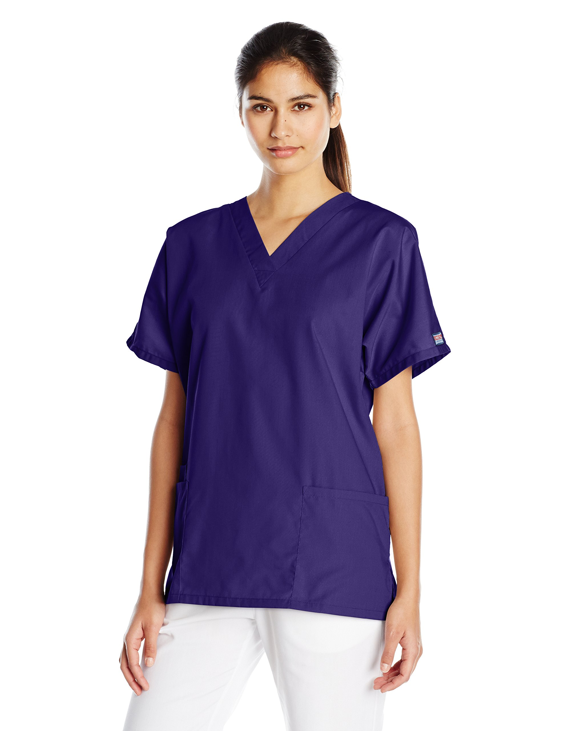 Cherokee Women's V-Neck Scrub Top, Grape, Large