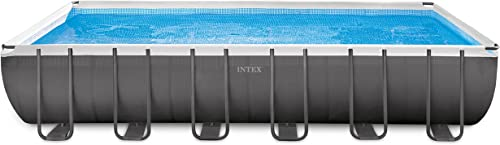 Intex 24ft X 12ft X 52in Ultra Frame Rectangular Pool Set with Sand Filter Pump Saltwater System, Ladder, Ground Cloth, Pool Cover, Maintenance Kit Volleyball