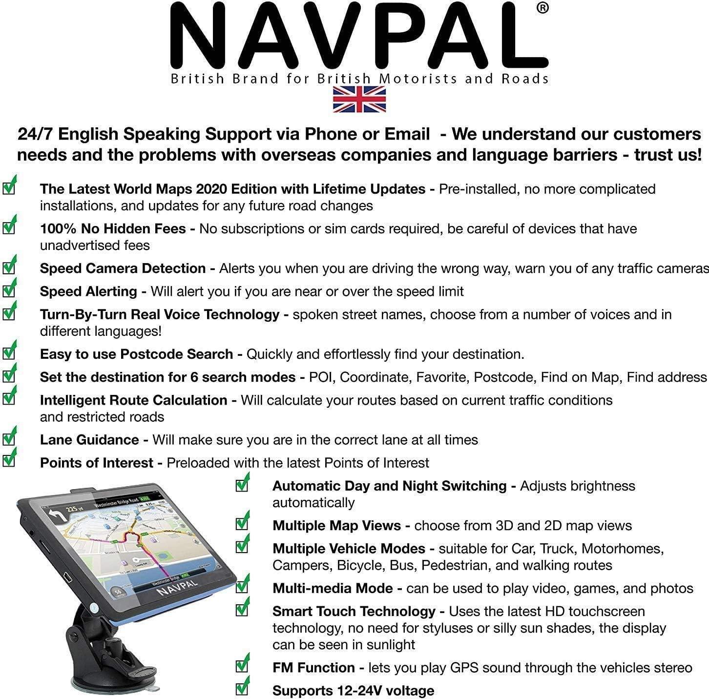 avvisi di autovelox e POI. navigazione GPS per auto SLIMLINE SAT NAV con Europa del Regno Unito 2019 camion e camper include codici postali + Aggiornamenti mappe a vita gratuiti preinstallato