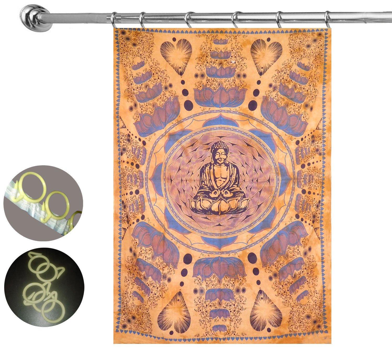100/% algod/ón Puro para Puerta tapices de Mandala Gemsandcraft Cortina de meditaci/ón de Buda con 10 Ganchos Cortina de Ventana Cortina de Puerta de Mandala